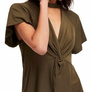 Free People Knotted Front Tee Olive Green